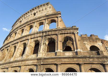 Detail of the Colosseo in Rome, Italy
