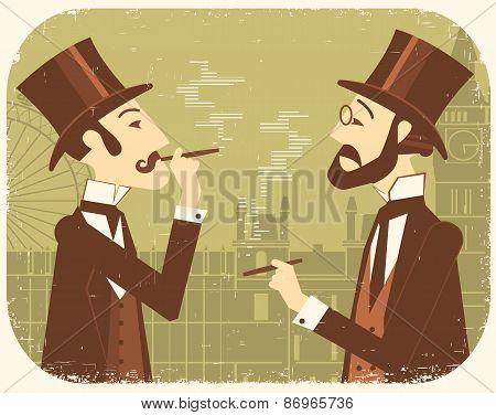 Gentlemen In Bowler Hats.vintage London Background