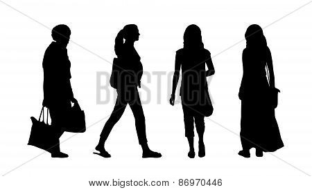 People Walking Outdoor Silhouettes Set 27