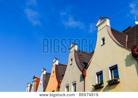 town houses with traditional gable symbol for living, old, old town