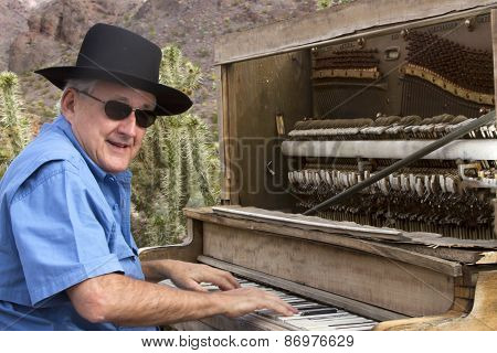 Honky Tonk Piano Player In Desert