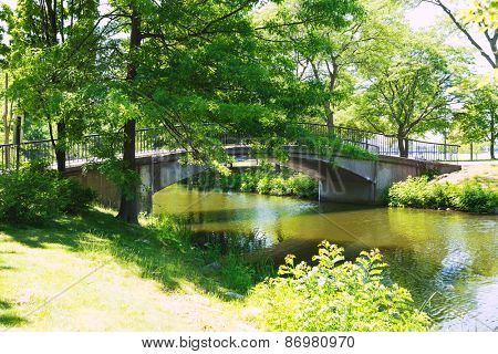 Boston Charles River at The Esplanade in Massachusetts USA