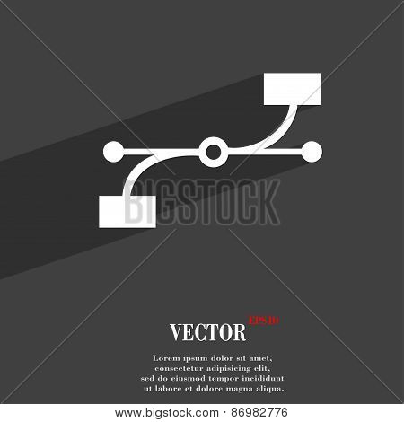 Bezier Curve Icon Symbol Flat Modern Web Design With Long Shadow And Space For Your Text. Vector