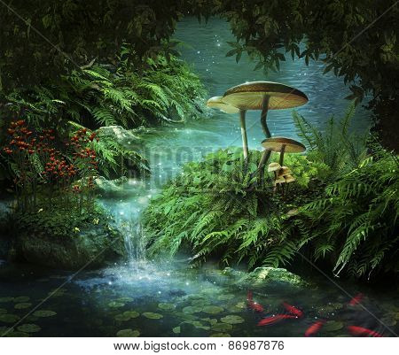 Fantastic river with red fishes and mushrooms