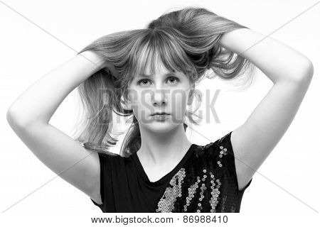 Black And White Portrait Of A Beautiful Girl In The Studio