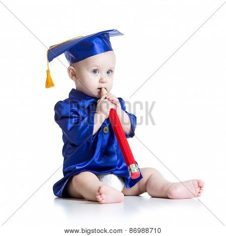 Toddler in academician clothes