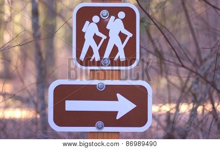 Brown Hiking Sign with Arrow