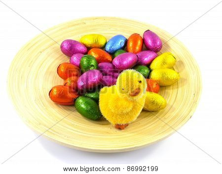 An isloated plate with Easter eggs