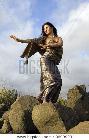 Thai dance on stones