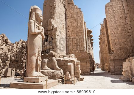 Colossal Statue At Karnak Temple