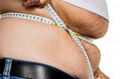 man with overweight. symbolic photo for beer belly, unsuccessful diets and poor diet. poster