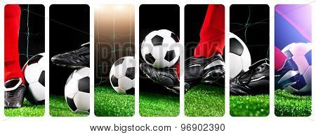 collage of photos foot soccer ball with his feet on the football field