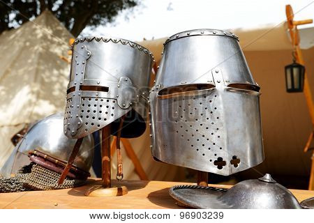 The Medival Knights Helmets In Mdina, Malta