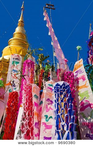 Songkran flags at temple in Lamphun Thailand
