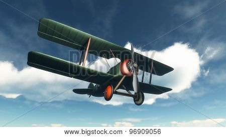 Biplane flying in the sky - 3D render