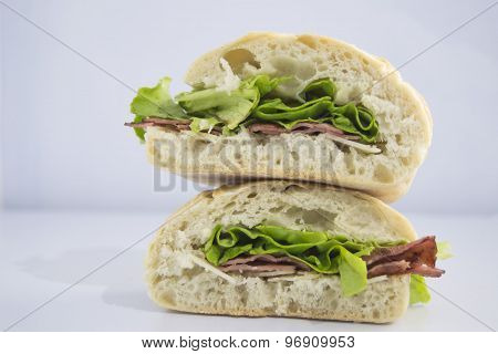 Bacon sandwich with lettuce and ciabatta bread