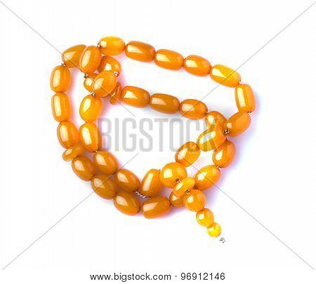 Amber Beads Isolated On White Background
