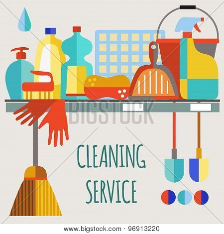 Cleaning products flat icon vector set.