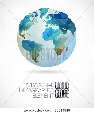 Vector world globe, triangular map of the earth