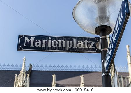 Street Sign Of Marienplatz In Munich, Germany, 2015