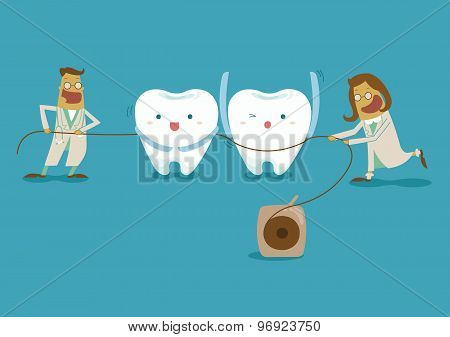 Dentist take dental floss