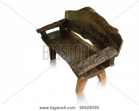 Old wooden bench isolated by hand made on white background clipping path.