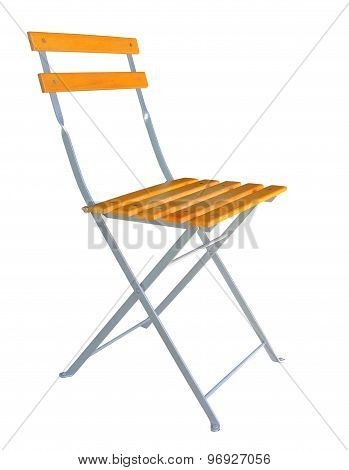Side view of wooden folding chair isolated over white background clipping path.