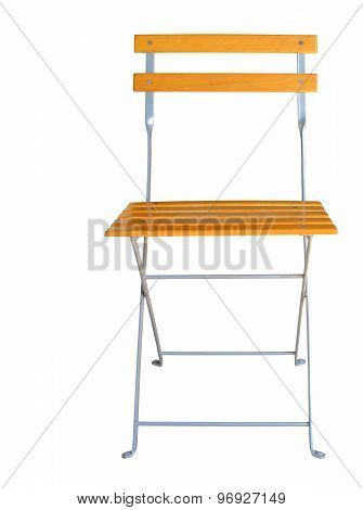Wooden folding chair isolated over white background clipping path.