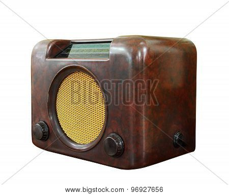Old radio isolated over white background clipping path.