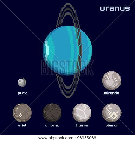 Retro minimalistic set of Uranus and moons