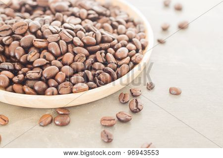 Roast Coffee Bean On Wooden Plate