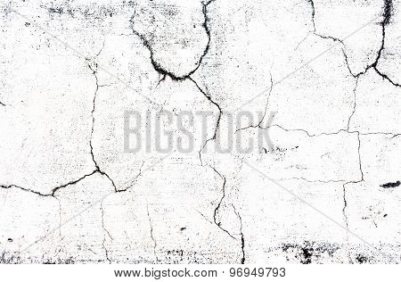 Cracked Concrete Old While Wall Background