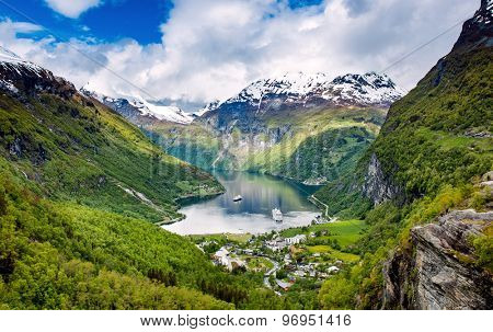 Geiranger fjord, Beautiful Nature Norway. It is a 15-kilometre (9.3 mi) long branch off of the Sunnylvsfjorden, which is a branch off of the Storfjorden (Great Fjord). poster