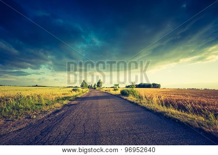 Vintage Photo Of Rural Summer Landscape With Old Asphalt Road