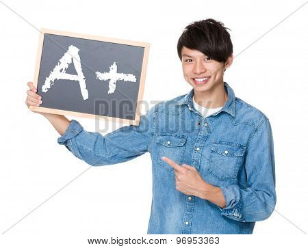 Asian man finger point to chalkboard and showing A plus mark