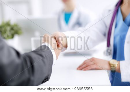 Doctor and Patient isolated on white background .
