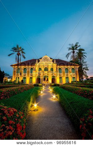 Phraya Abhaibhubate building at twilight old building at Prachinburi province Thailand.