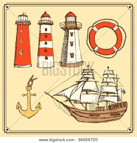Sketch lighthouse, anchor, lifebouy and ship