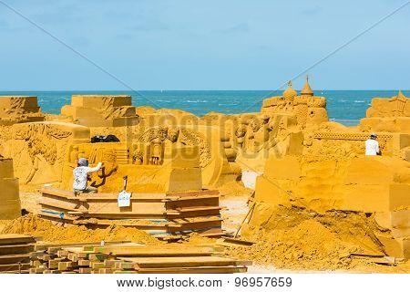Sand Sculpture Festival Preparings
