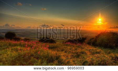Sunset in Somerset England UK view from Quantocks Hills to Blackdown Hills across Taunton valley HDR