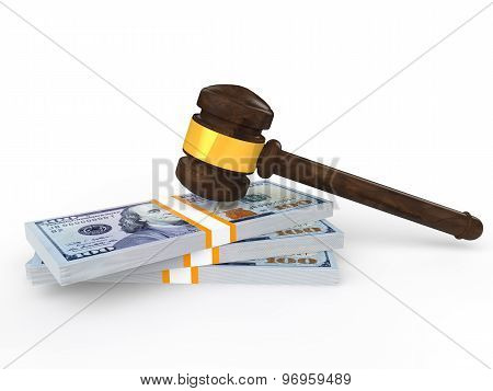 3d gavel and money