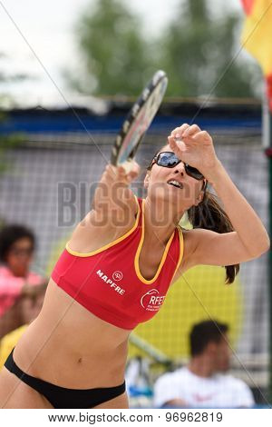 MOSCOW, RUSSIA - JULY 17, 2015: Pilar Escandell of Spain in action during the ITF Beach Tennis World Team Championship. 28 nations compete in the event this year