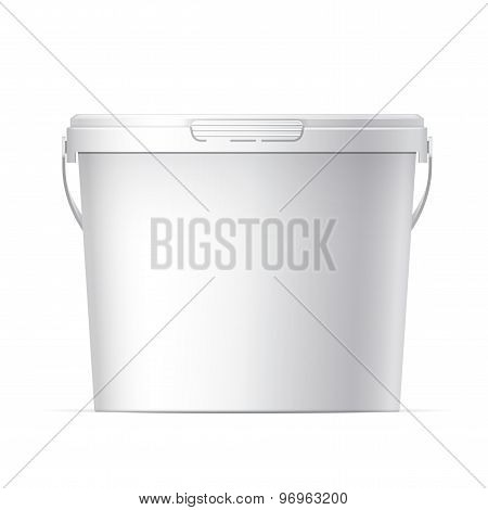 White plastic bucket with White lid. Product Packaging For food foodstuff or paints adhesives sealants primers putty. Vector poster