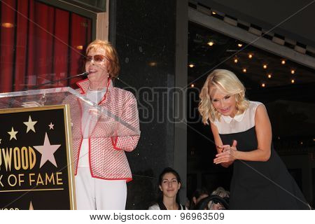 LOS ANGELES - JUL 24:  Carol Burnett, Kristin Chenoweth at the Kristin Chenoweth Hollywood Walk of Fame Star Ceremony at the Hollywood Blvd on July 24, 2015 in Los Angeles, CA