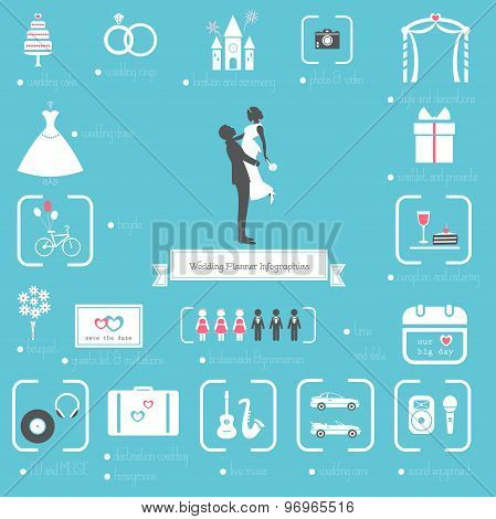 Wedding Planning Icons and Infographics Set