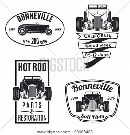 Vector set of vintage hot rod icons.