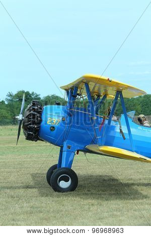 Thiene, Vicenza - Italy. 26Th July, 2015: Air Show Called Flighthiene In Thiene Airport Biplane With