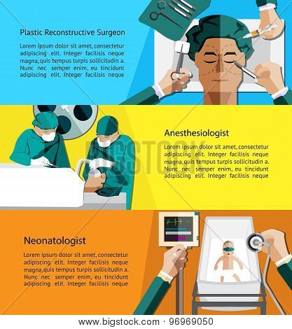 Type of specialist physicians doctor such as plastic reconstructive surgeon anesthesiologist and neonatologist pediatrics profession infographic banner template layout background designed for website create by vector poster