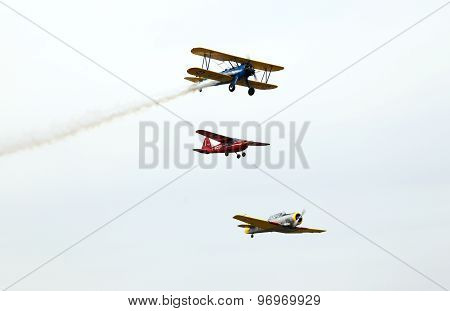Thiene, Vicenza - Italy. 26Th July, 2015: Three Aircraft Aerobatics In The Sky