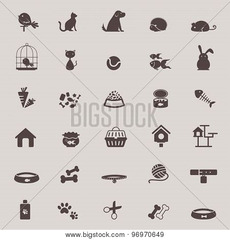 Silhouette Cute Animal And Pet Shop Tool Icon Design Set For Shopping Advertisement Or Website Useag